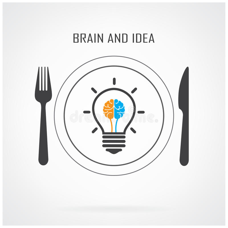 Idérik idé- och hjärnbegreppsbakgrund för ljus kula stock illustrationer