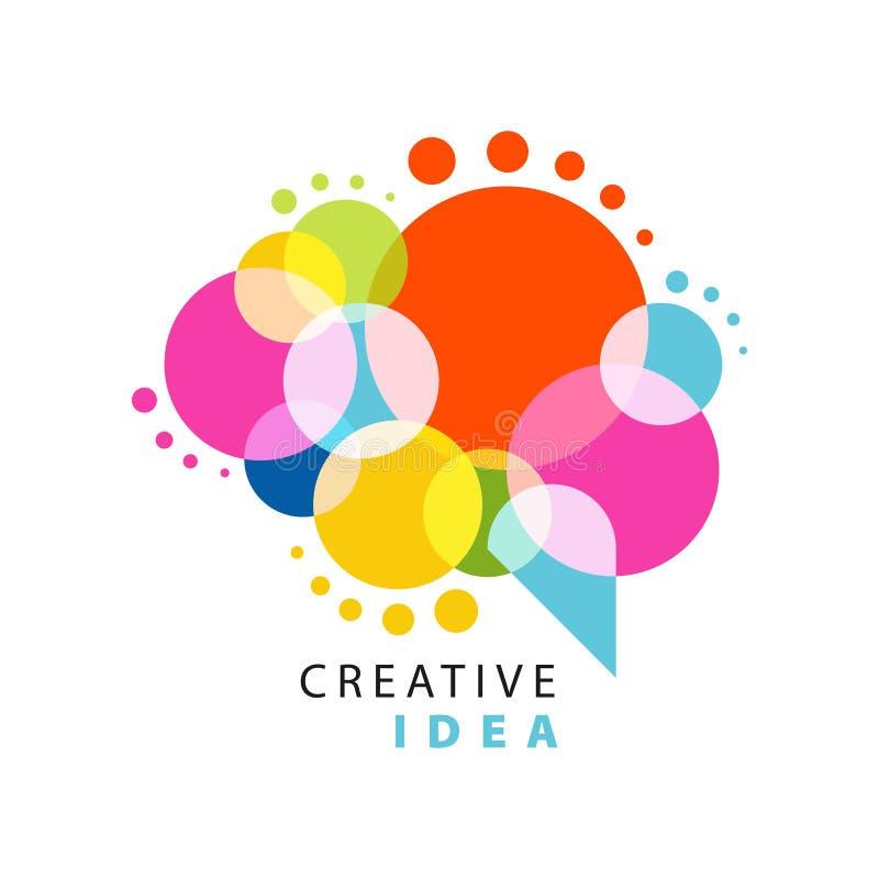 Idérik idélogomall med den abstrakta färgrika anförandebubblan Bildande affär, etikett för utvecklingsmitt ström royaltyfri illustrationer