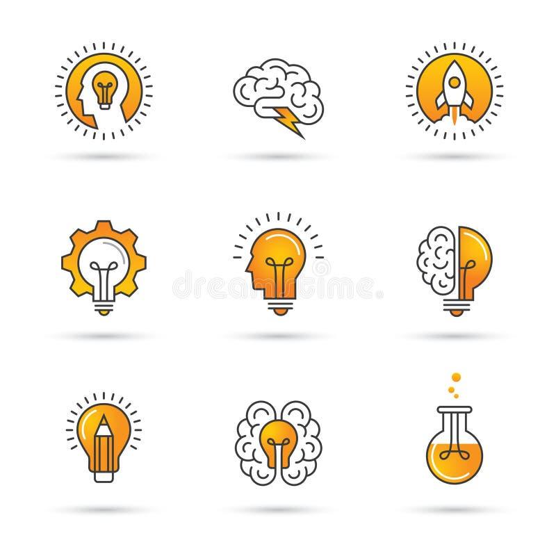 Idérik idélogouppsättning med det mänskliga huvudet, hjärna, ljus kula vektor illustrationer