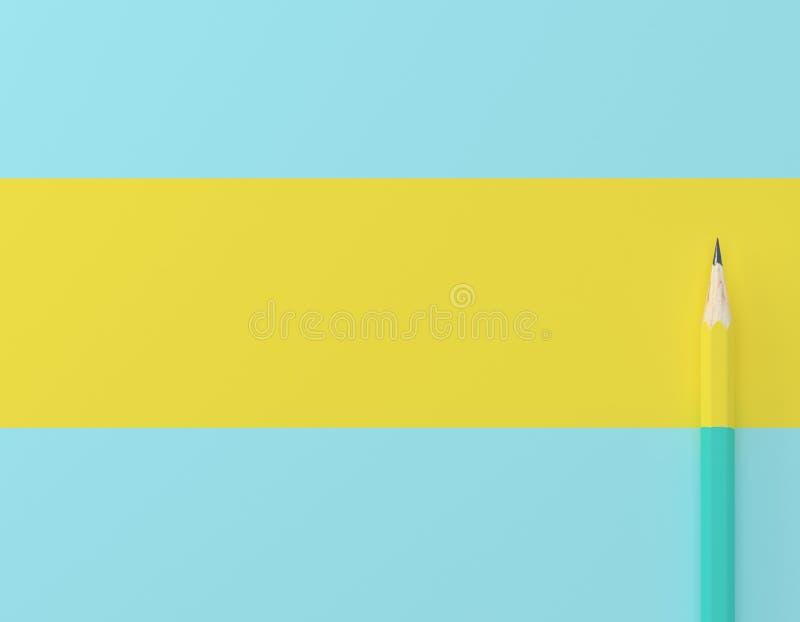 Idérik idéorientering som göras av blå pastellfärgad bakgrund för gul blyertspennakontrast Minsta mall med kopieringsutrymme vid  arkivfoton