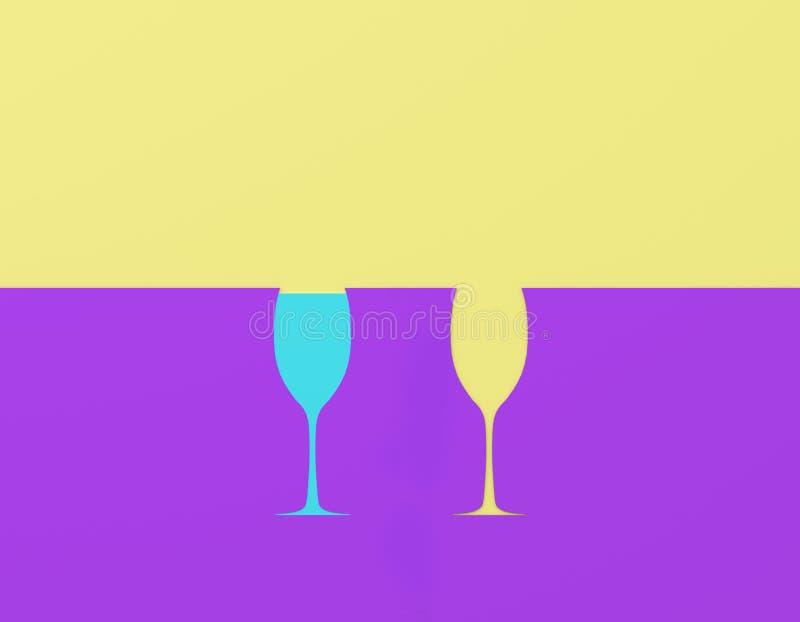 Idérik idéorientering som göras av papper med exponeringsglaskontrast på purpurfärgad och gul pastellfärgad bakgrund Minsta begre royaltyfri fotografi