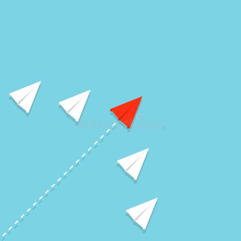 Idérik illustration av folkmassapappersnivån Begrepp av ledarskap, teamwork och kurage Infographic konstdesign abstrakt G royaltyfri illustrationer