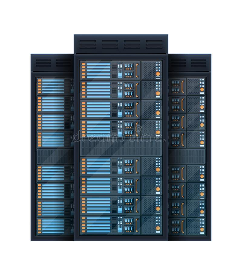 Idérik illustration av serverkuggerum, stor databankmitt som isoleras på bakgrund Teknologi f?r vara v?rd f?r konstdesignreng?rin vektor illustrationer