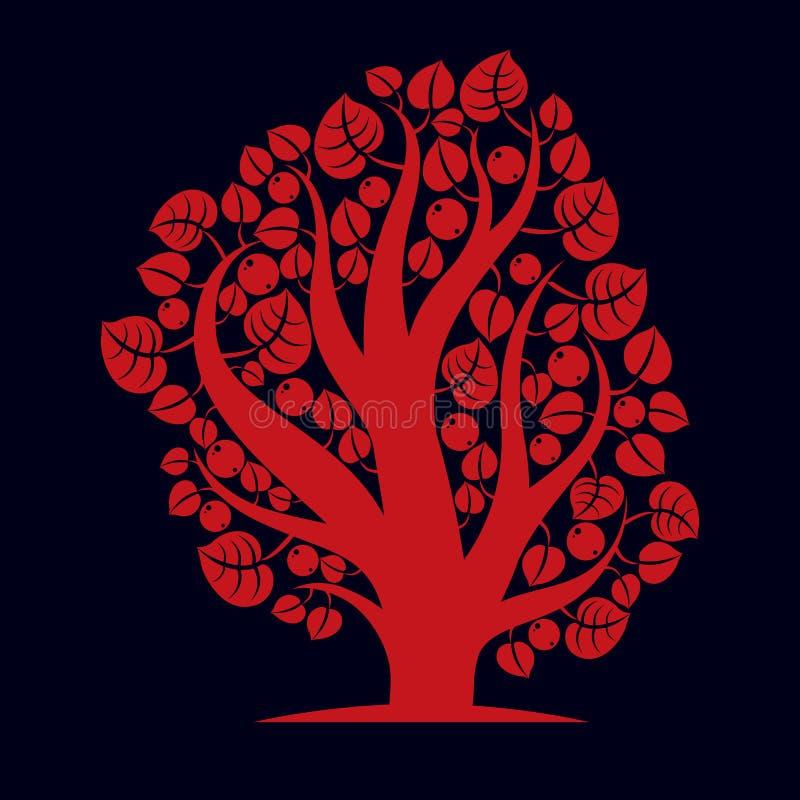 Idérik illustration för konst av trädet, stiliserat ecosymbol stock illustrationer