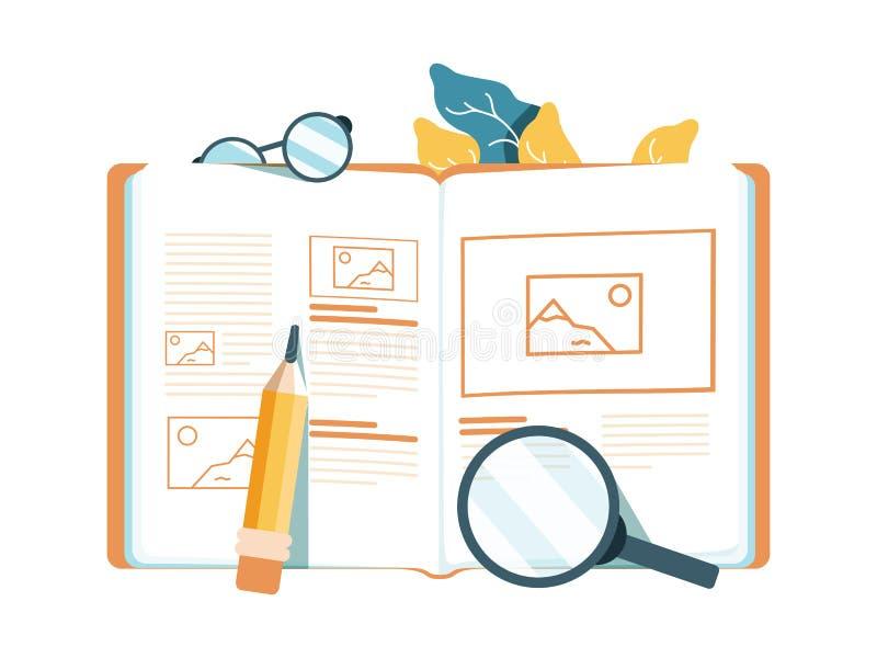 Idérik illustration för vektor som e-lär direktanslutet, distansutbildning, rengöringsdukdesign, online-kurser stock illustrationer