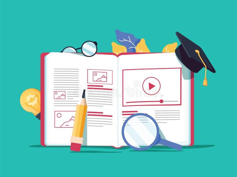 Idérik illustration för vektor som e-lär direktanslutet, distansutbildning, rengöringsdukdesign, online-kurser Bok royaltyfri illustrationer