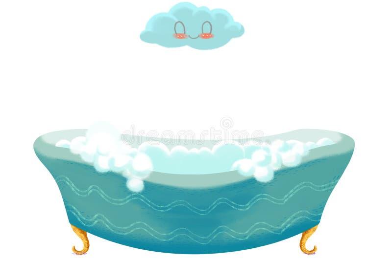Idérik illustration och innovativ konst: Badet badar och fördunklar royaltyfri illustrationer
