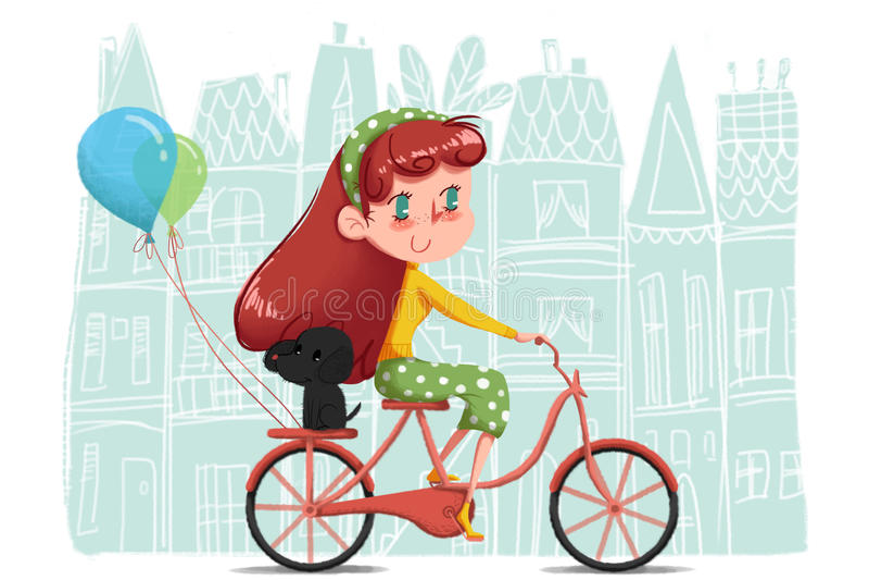 Idérik illustration och innovativ konst: Flicka som rider hennes cykel som runt om världen turnerar med hennes lilla hund royaltyfri illustrationer