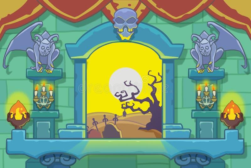 Idérik illustration och innovativ konst: Inre bakgrundsuppsättning 1: Inom slotten royaltyfri illustrationer