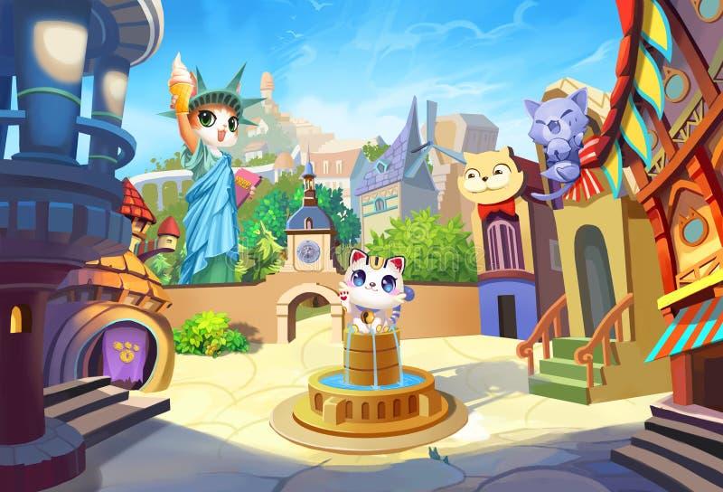 Idérik illustration och innovativ konst: Välkomnande till Cat Ville, en liten stad med deras egen staty av frihet stock illustrationer