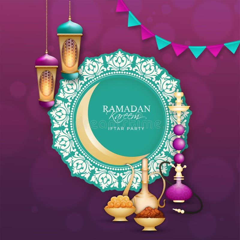 Idérik inbjudankortdesign med illustrationen av olik typmat på purpurfärgad bakgrund för Ramadan Kareem royaltyfri illustrationer