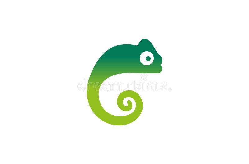 Idérik kameleont Logo Design Vector Symbol Illustration arkivfoto