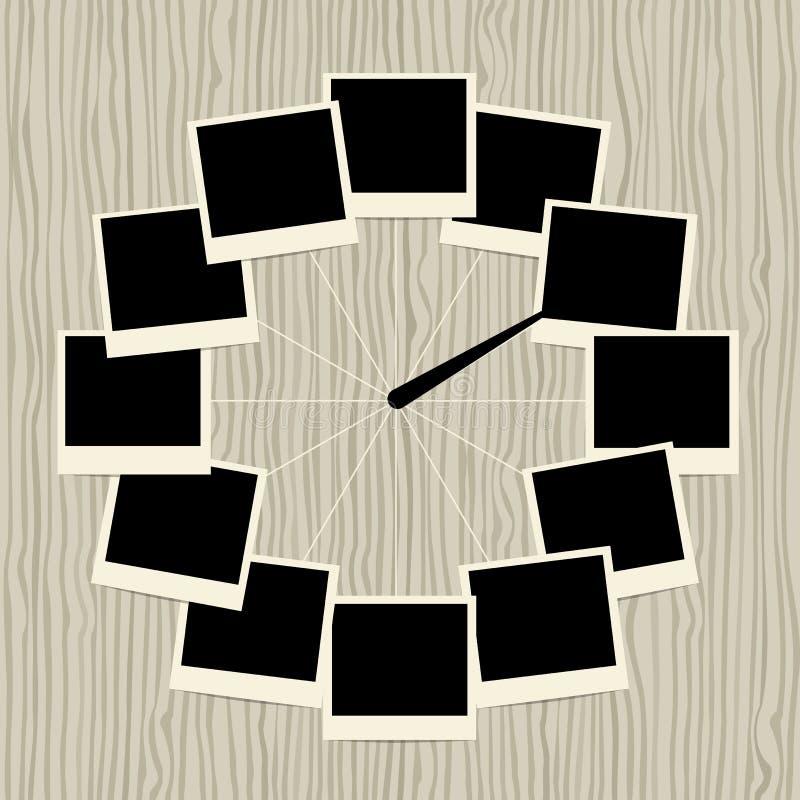Idérik klockadesign med fotoramar vektor illustrationer