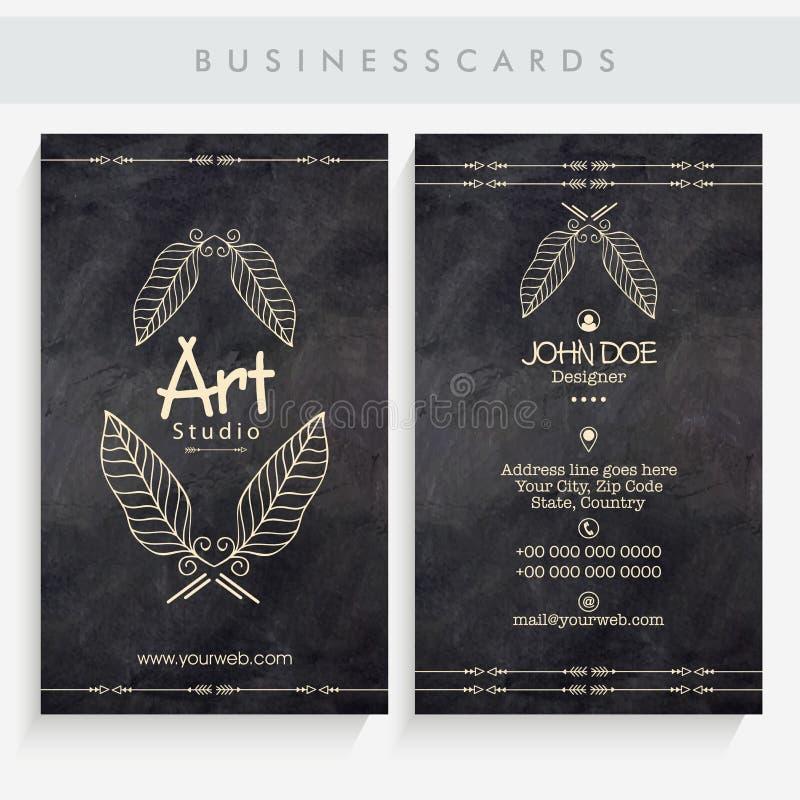 Idérik konstnärlig affärskortuppsättning royaltyfri illustrationer