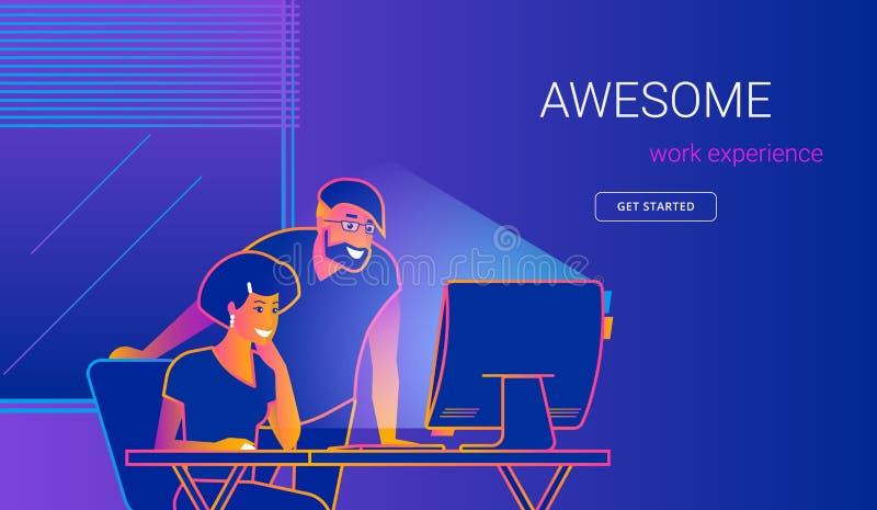 Idérik kontorsman som visar den nya websiten till kvinnan på arbetsskrivbordet stock illustrationer