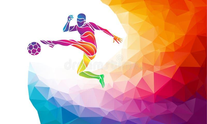 Idérik kontur av fotbollspelaren Fotbollsspelaren sparkar bollen i moderiktig abstrakt färgrik polygonstil med regnbågebaksida royaltyfri illustrationer