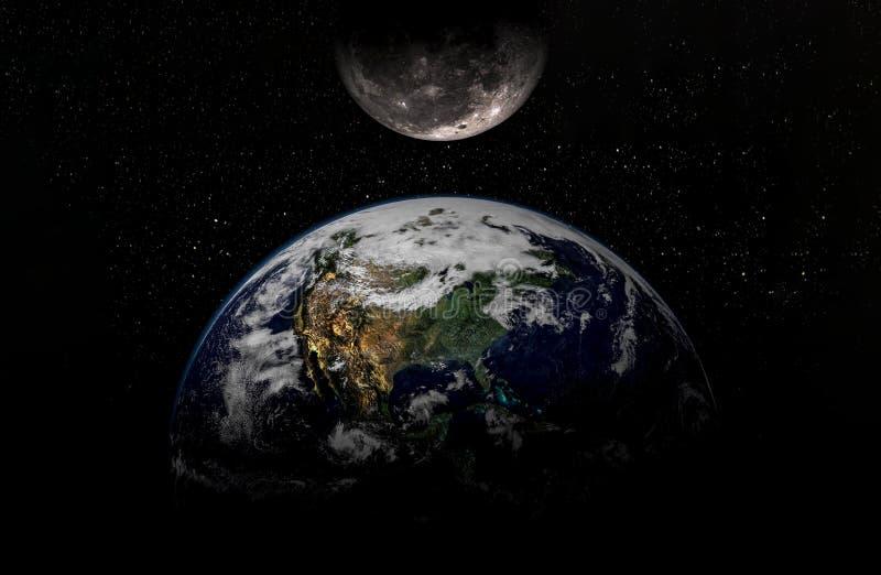 Idérik kosmisk konst måne och jord i galax för mörkt utrymme Beståndsdelar av denna bild möblerade vid NASA f royaltyfri foto