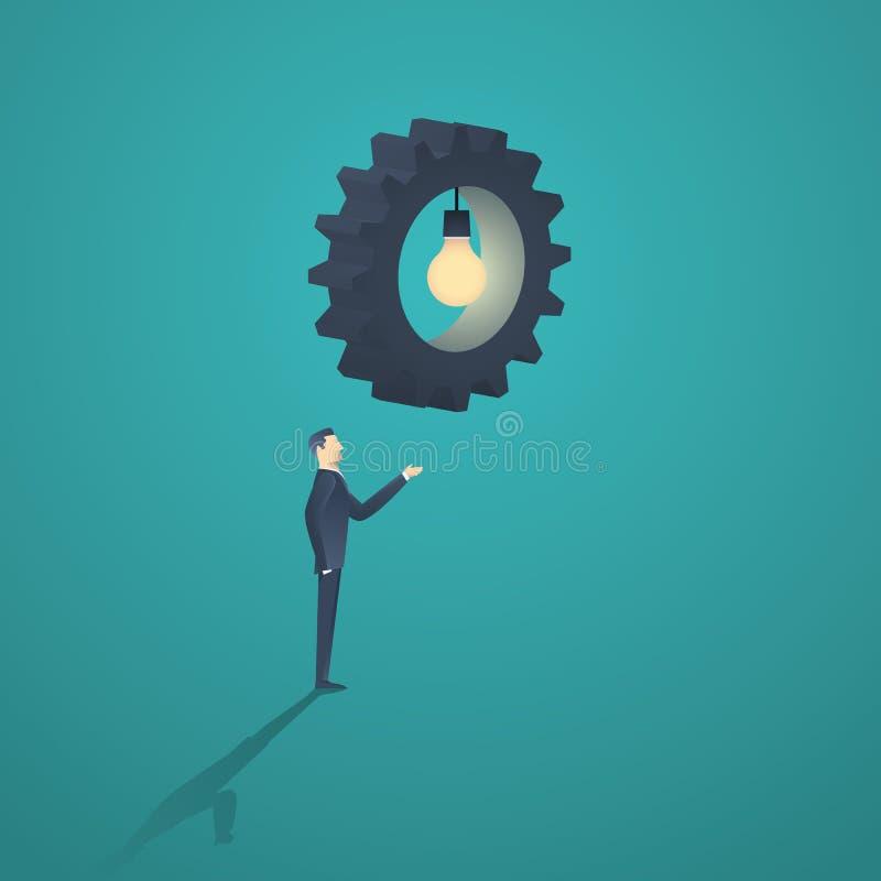 Idérik lösningsaffärsidé med en affärsman- och kugghjullightbulb stock illustrationer
