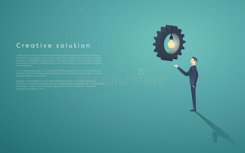 Idérik lösningspresentation med lightbulben, kugghjul och en affärsman Bakgrund för kreativitetbegreppsvektor, utrymme för royaltyfri illustrationer