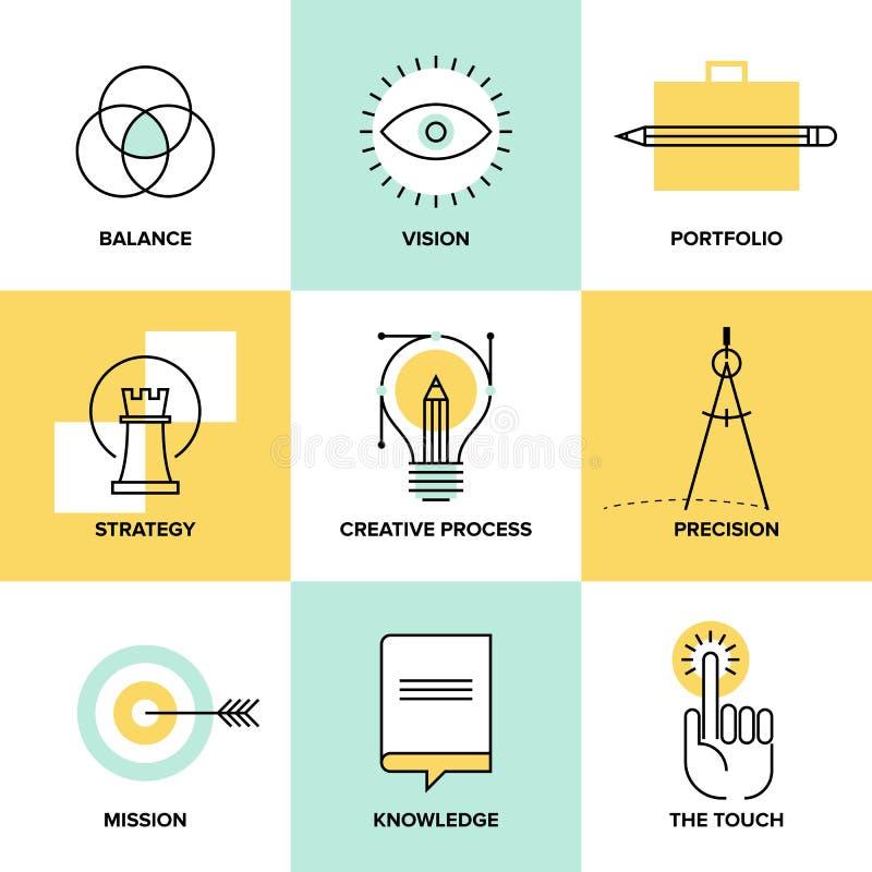 Idérik linje symboler för lägenhet för processdesign stock illustrationer
