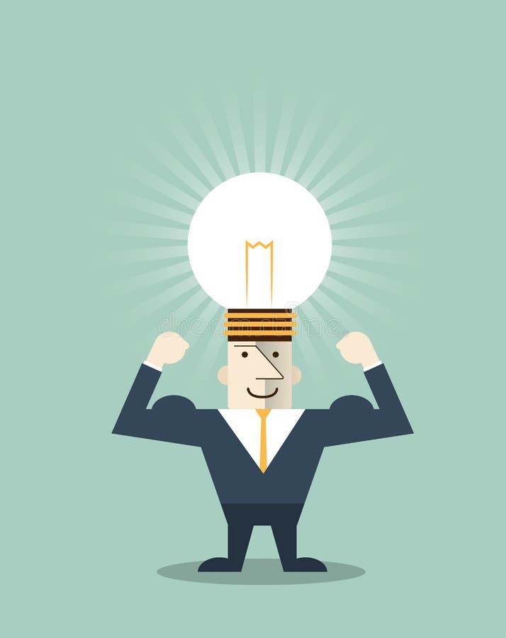 Idérik ljus kula för affärsman med symbol för mänskligt huvud stock illustrationer
