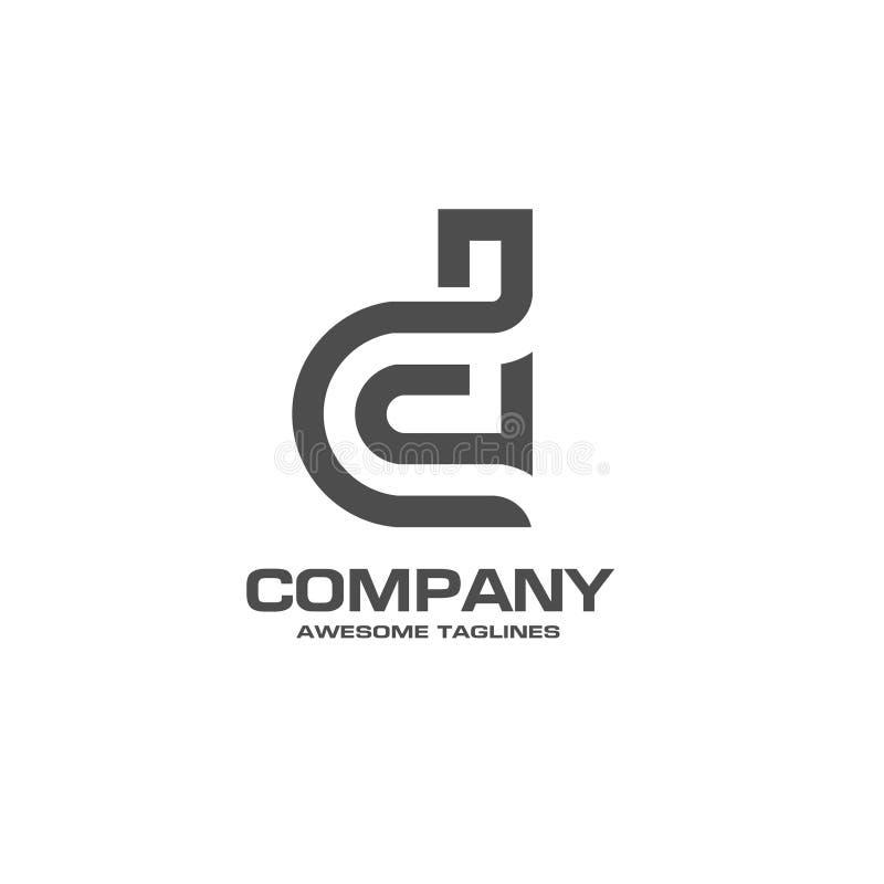 Idérik logo för bokstav D vektor illustrationer
