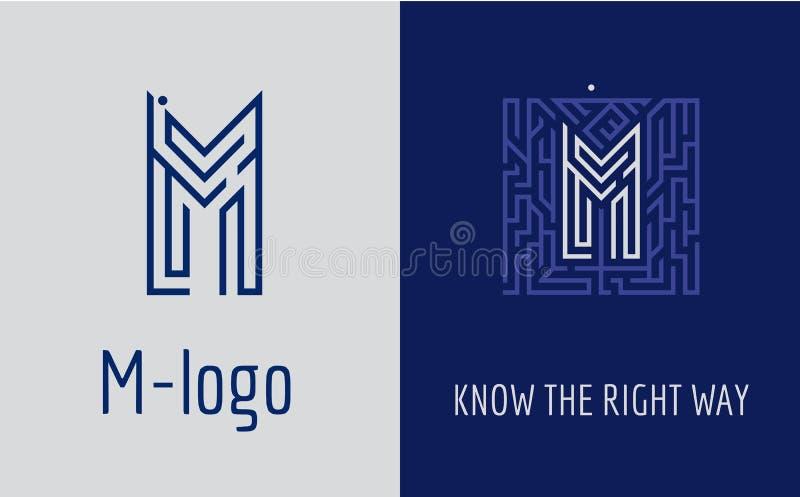 Idérik logo för företags identitet av företaget: bokstav M Logoen symboliserar labyrinten, val av den högra banan, lösningar royaltyfri illustrationer