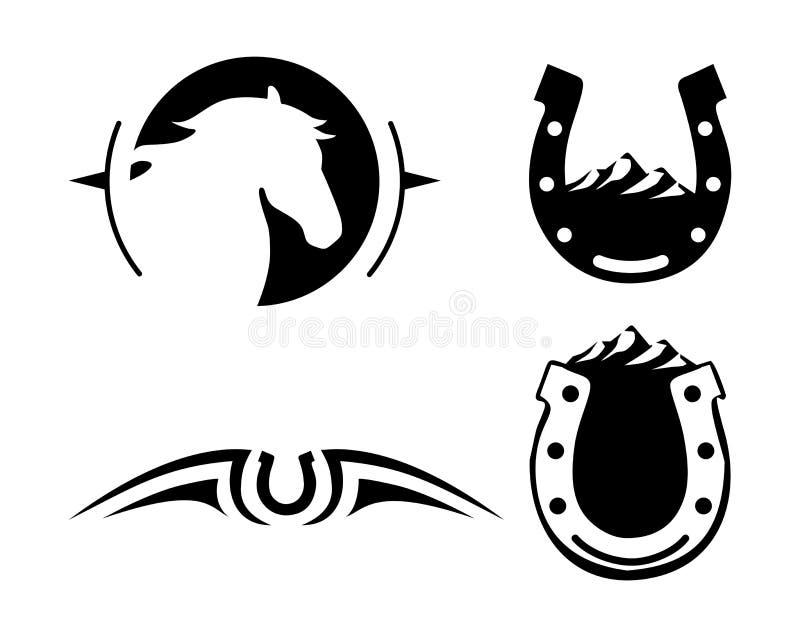 Idérik logo för lantgård och ranch svart white vektor illustrationer