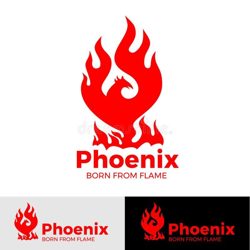 Idérik logo för Phoenix logo av den mytologiska fågeln Fenix, en unik fågel stock illustrationer