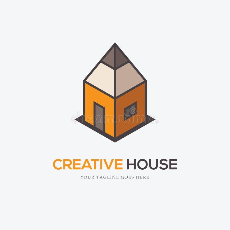 Idérik logo med blyertspennan och huset royaltyfri illustrationer