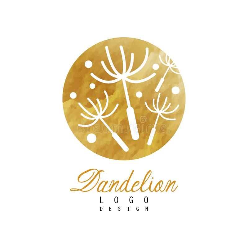 Idérik logodesign av maskrosen med att flyga fluffigt frö Organiskt produktemblem Naturlig etikett med guld- textur royaltyfri illustrationer