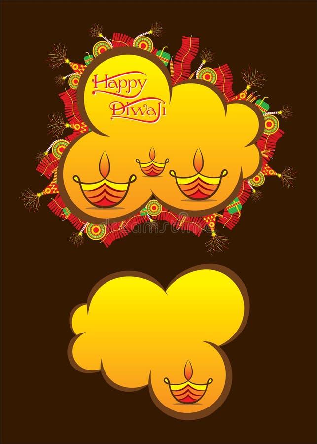 Idérik lycklig design för Diwali festivalaffisch vektor illustrationer