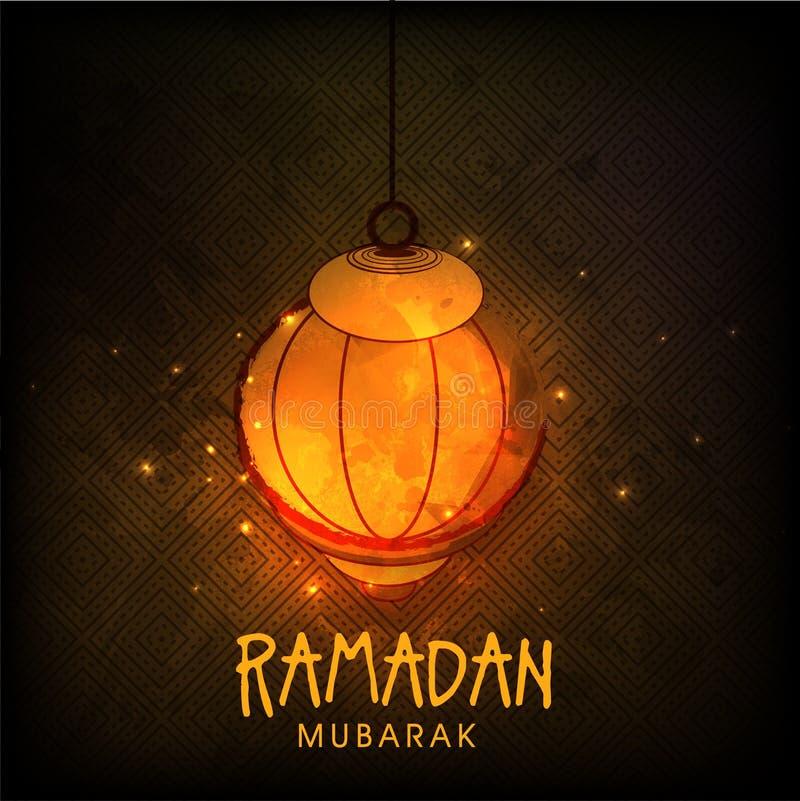 Idérik lykta för Ramadan Mubarak beröm stock illustrationer
