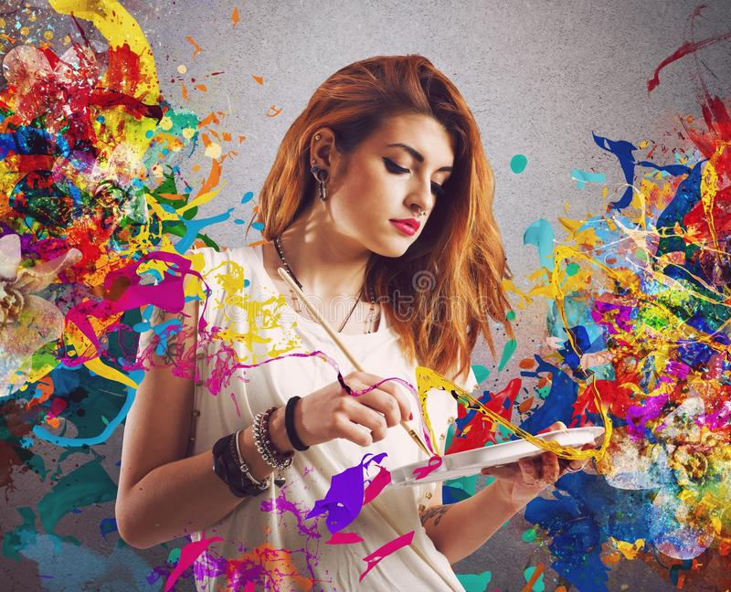 Idérik målare för flicka royaltyfria foton