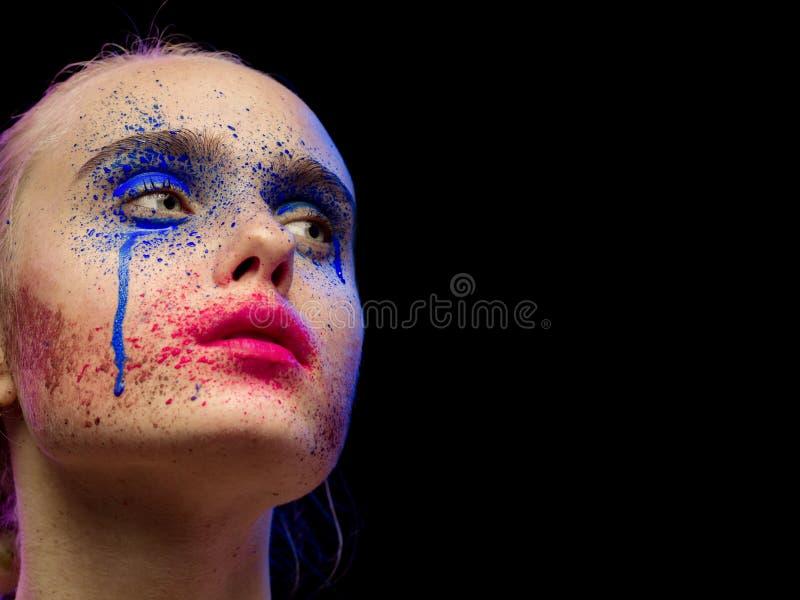 Idérik mångfärgad makeup arkivbild