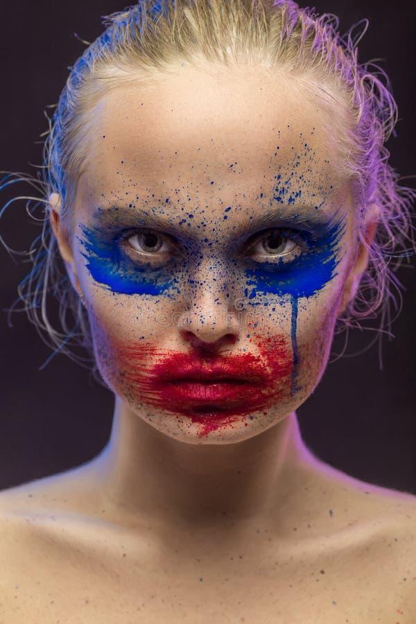 Idérik mångfärgad makeup royaltyfria foton