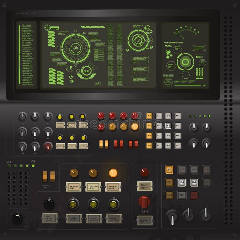 Idérik mall för användargränssnitt i stilen av den gamla datoren för science royaltyfri illustrationer