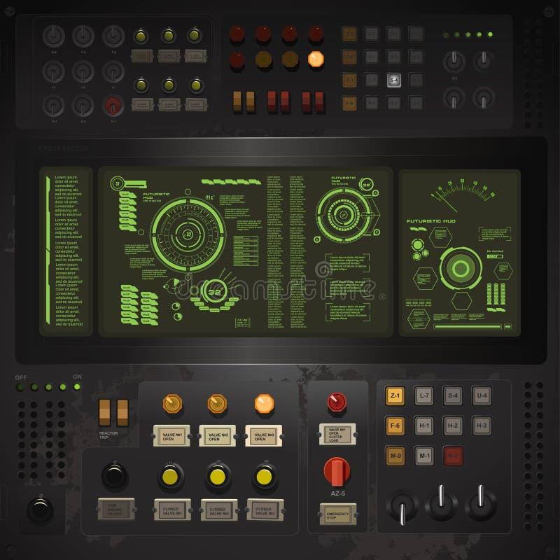 Idérik mall för användargränssnitt i stilen av den gamla datoren för science stock illustrationer