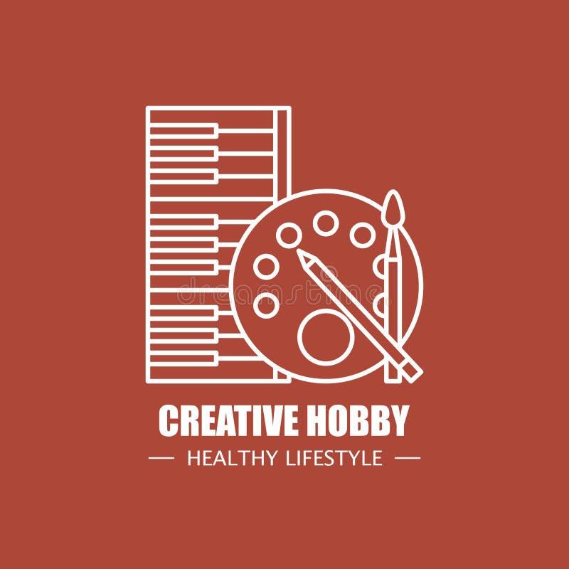 Idérik mall för design för hobbyvektorlogo Modern linjär brännmärka beståndsdel för sunt livsstilföretag eller konstskola royaltyfri illustrationer