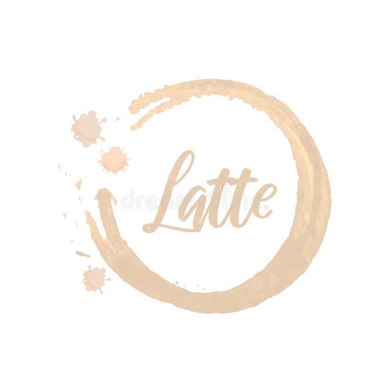 Idérik mall för logo som annonserar reklambladet, befordranaffisch i form av den beigea cirkeln med handskriven märka latte stock illustrationer