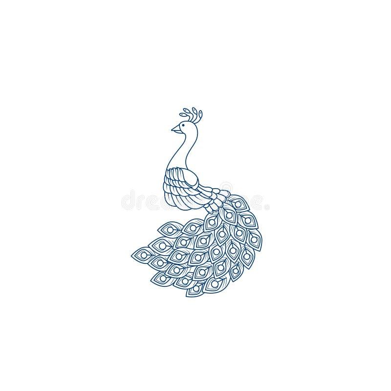 Idérik mall för påfågellogodesign PåfågelLogo Illustration With linje konst Lyxig stil Dekorativ fågel för vektorillustration royaltyfri illustrationer