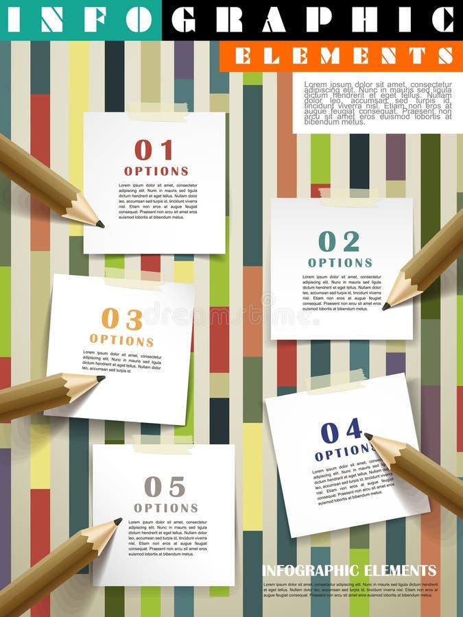 Idérik mall som är infographic med blyertspennor som skriver på stolpe-honom vektor illustrationer