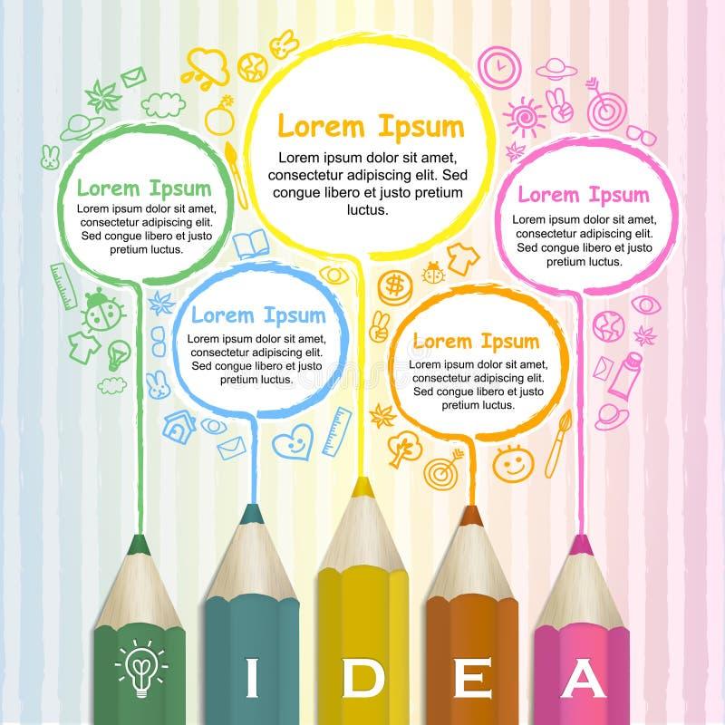 Idérik mall som är infographic med den färgrika linjen för blyertspennateckning stock illustrationer