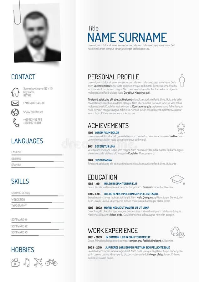 Idérik minimalistCV-/meritförteckningmall stock illustrationer