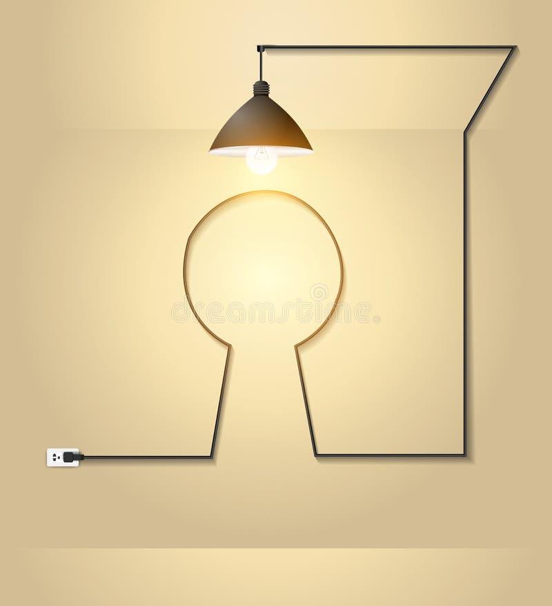 Idérik nyckelhål för vektor med idébegrepp för ljus kula på väggrum stock illustrationer
