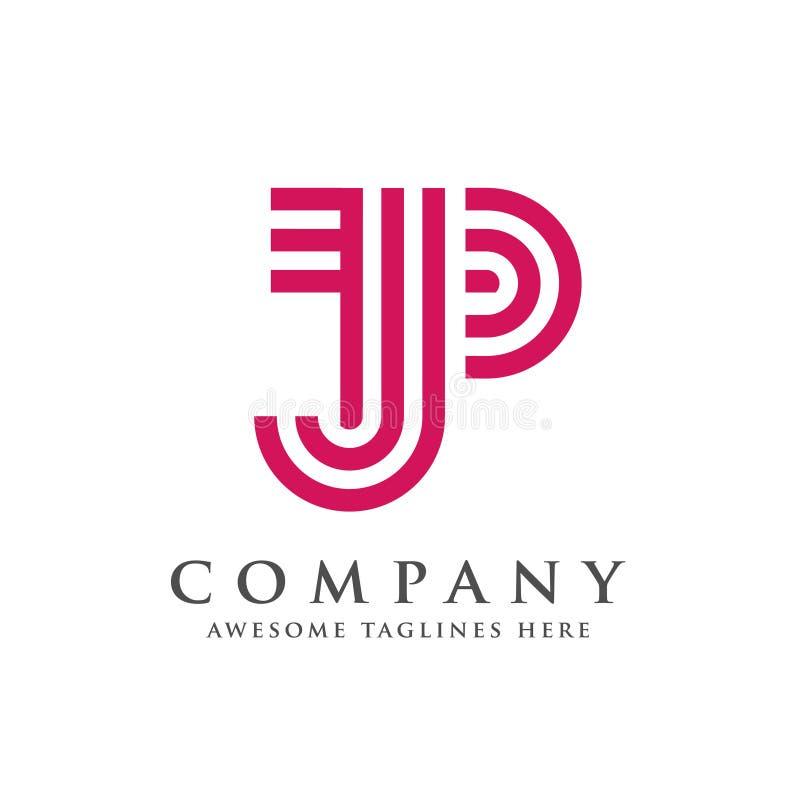 Idérik och enkel bokstavsJP-logo stock illustrationer