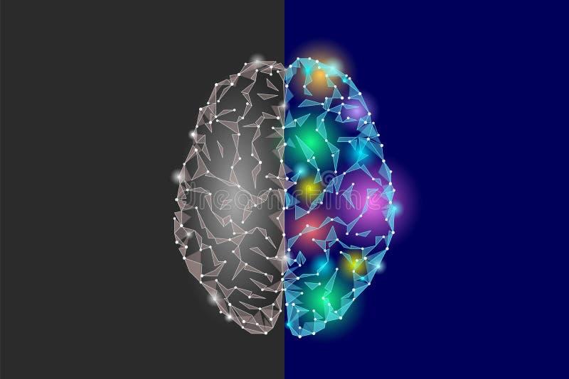 Idérik och logikdelhjärna För fantasihalvklot för Analytics konstruktiv konstnärlig funktion för mening för sida lågt poly stock illustrationer