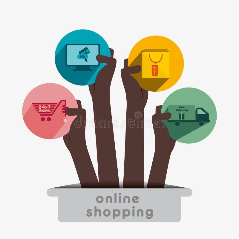 Idérik online-shoppingsymbol stock illustrationer