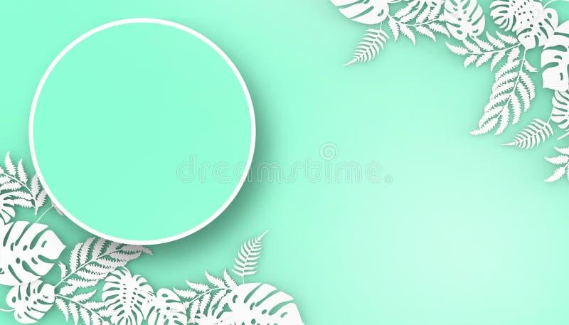 Idérik orientering som göras av blommor och sidor på grön bakgrund för pastellfärgad färg - tolkning 3d vektor illustrationer