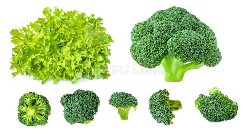 Idérik orientering som göras av grönsallatsallad och grön broccoli Nya gr?nsaker som isoleras p? vitbakgrund Lekmanna- l?genhet o arkivbilder